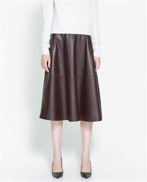 zara leather skirt in brown maroon lyst
