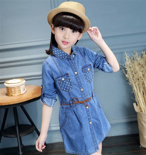 Dress Kid Bungashan 3 2017 denim jacket dress children clothing casual style clothes clothes