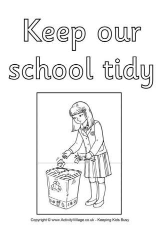 tidy up coloring page school rules colouring posters