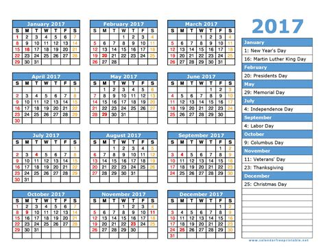 2017 Calendar With Holidays Printable New Year 2017 Printable Calendar Photos Color Pages