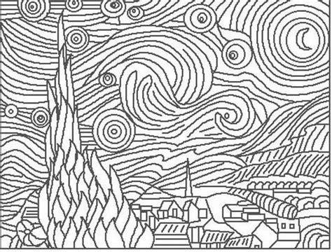 coloring pages van gogh starry starry night the starry night vincent van gogh born march groot 597422