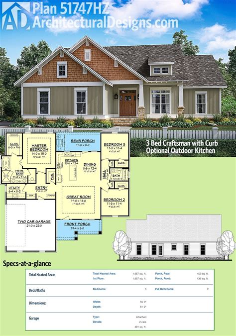 house plans with outdoor kitchens plan 51747hz 3 bed craftsman with optional outdoor