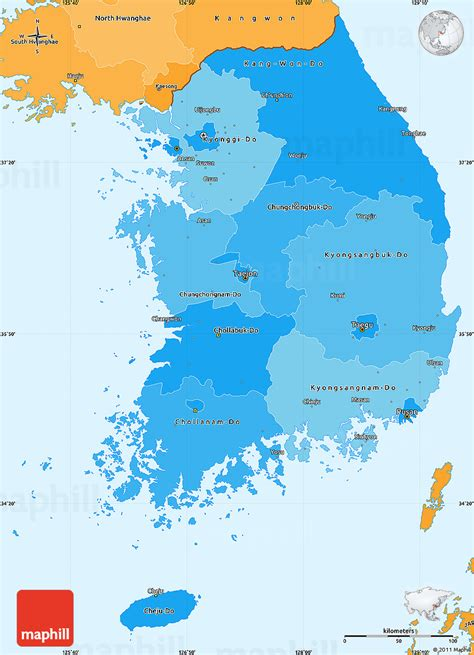 political map of korea political shades simple map of south korea