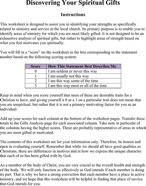 printable spiritual gifts questionnaire download spiritual gifts inventory church survey pdf