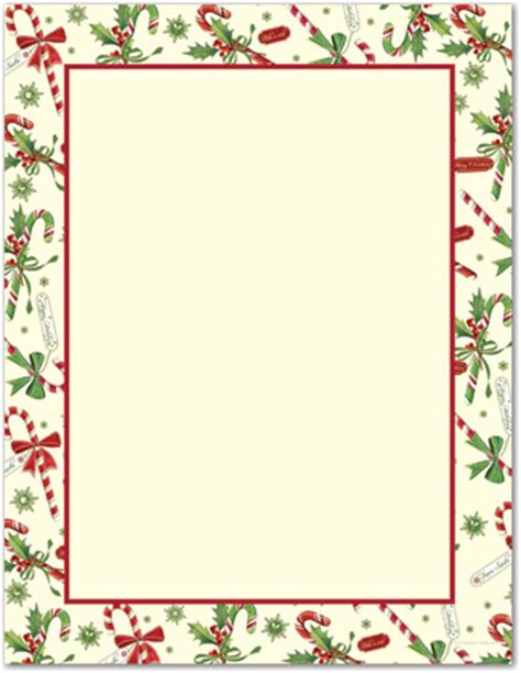 candy cane holly letterhead christmas stationery 25679