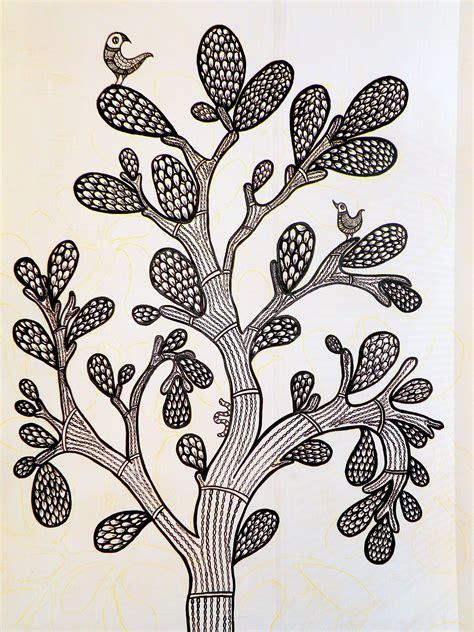 Art Murals For Walls gond art tree srivats simplified