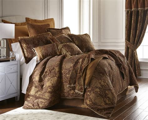 6pc magnificent asian art brown gold comforter set queen