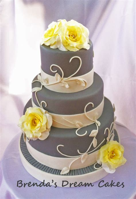 yellow and grey wedding cakes a wedding cake blog elegant gray with yellow roses super simple but elegant