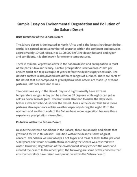 Environmental Issues Essay Exles by Sle Essay On Environmental Degradation And Pollution Of The