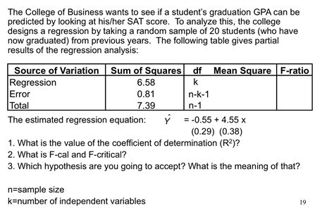 design expert regression analysis solved the college of business wants to see if a student