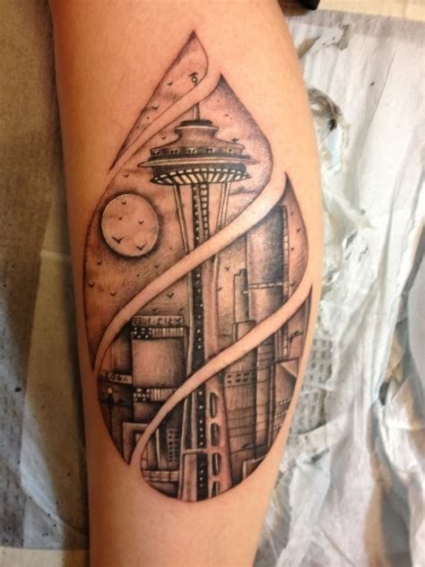 seattle skyline tattoo eddie martinez genius seattle wa black and