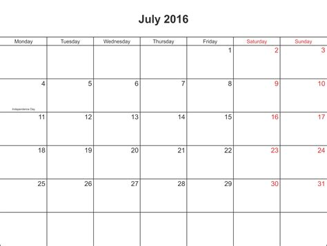 july 2016 printable calendar with holidays calendar july 2016 calendar printable with holidays pdf and jpg