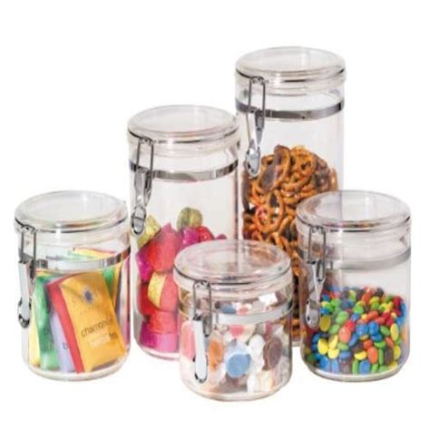 Airtight Kitchen Canisters by Food Storage Containers Oggi 5 Piece Acrylic Canister Set