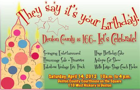denton county 166th birthday celebration april 14