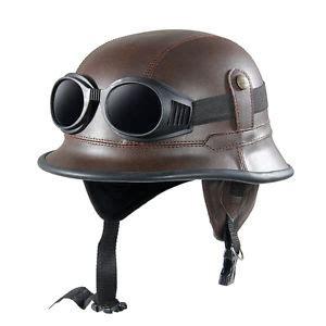 Helm Retro Helm Classic Helm Superbasic Matte Brown vintage moto motorcycle racing helmet with goggles glasses