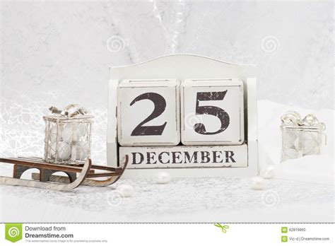 christmas day date on calendar december 25 stock photo