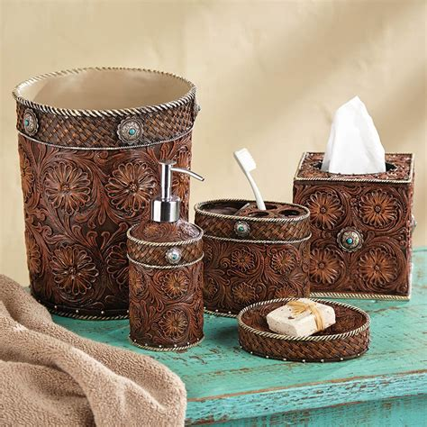 Western Bathroom Accessories Western Tooled Leather Bath Accessories