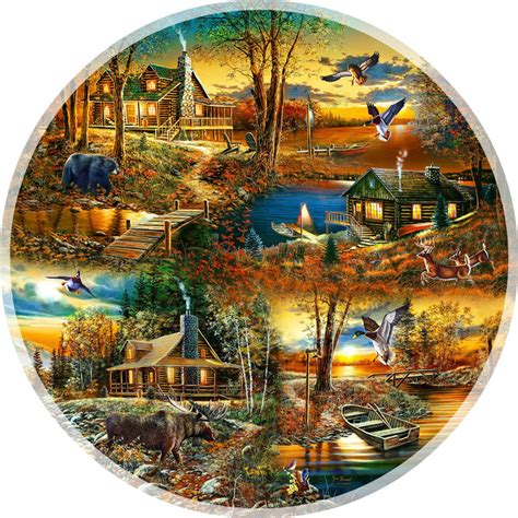 Cabins In The Woods 1000 Piece Round Puzzle By Sunsout Circular Jigsaw Puzzles
