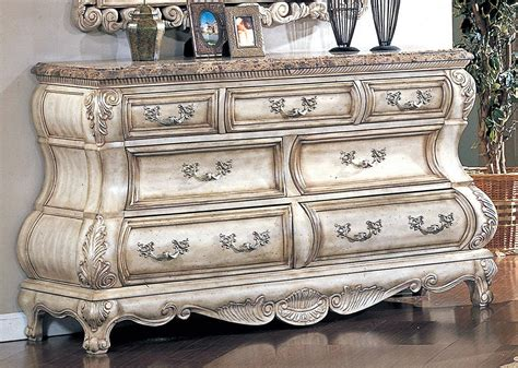 victorian inspired antique white luxury dresser  mirror
