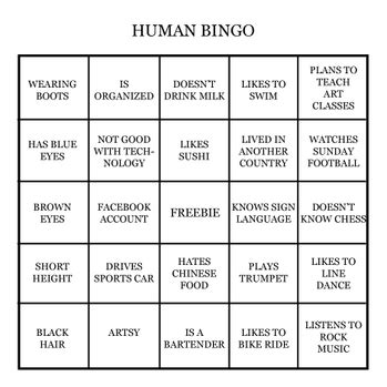 human bingo template human bingo template templates collections