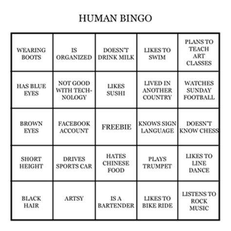 pin human bingo on pinterest