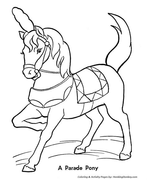 Circus Parade Pony Coloring Pages Printable Performing Circus Animals Coloring Pages
