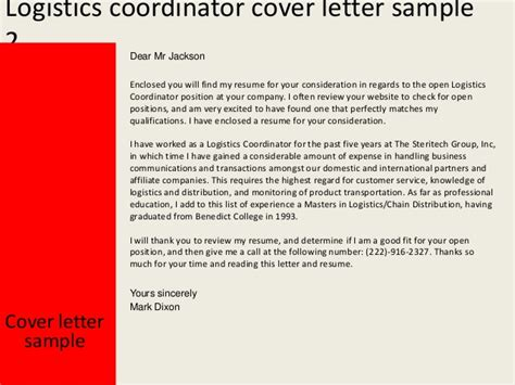 Shipping Coordinator by Logistics Coordinator Cover Letter