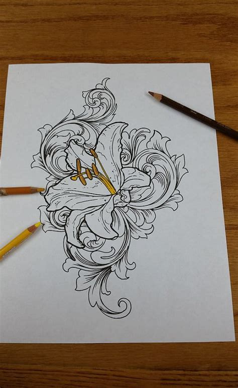 tattoo flash lily coloring peonies and sleeve on pinterest