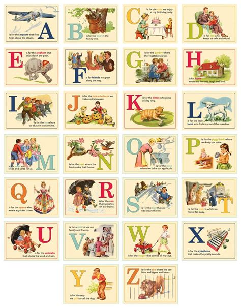 Printable Vintage Alphabet Cards