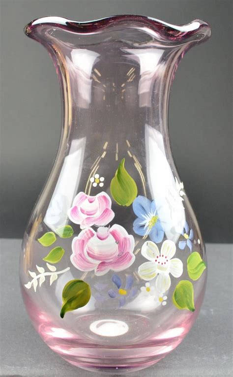 Painted Vases fenton glass painted floral design ruffle top