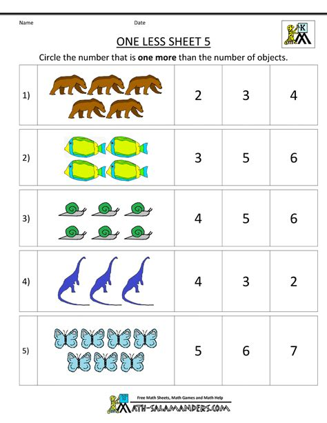 printable numbers kindergarten kindergarten math printable worksheets one less