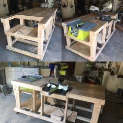 quick and easy mobile workstation with table saw and miter saw platforms garage stuff