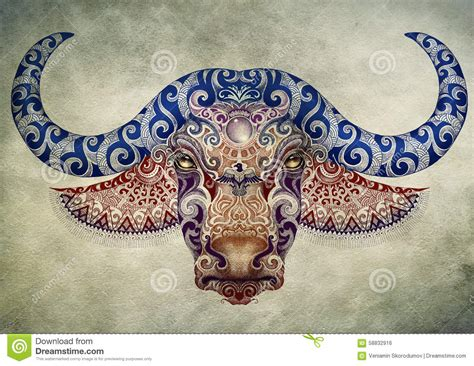 tattoo bull buffalo head with horns stock illustration