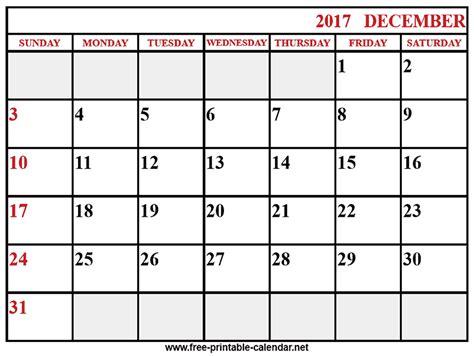 Calendar December 2017 Printable Free Printable 2017 Calendar December