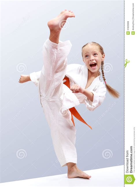 Karate The Masster Of Attack And Defence professional does karate kick stock photo image