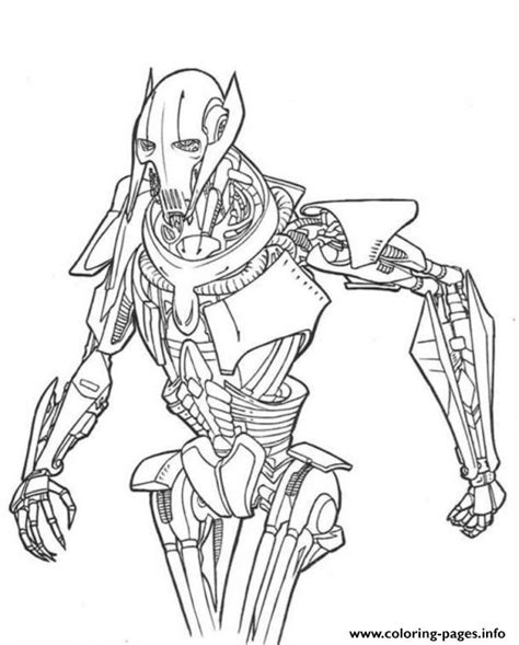 wars grievous coloring pages printable
