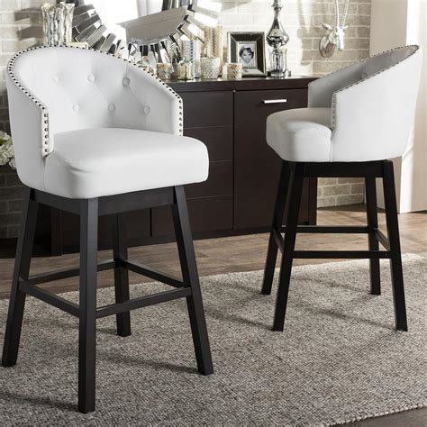 White Pieces In Stool by Baxton Studio Avril White Faux Leather Upholstered 2