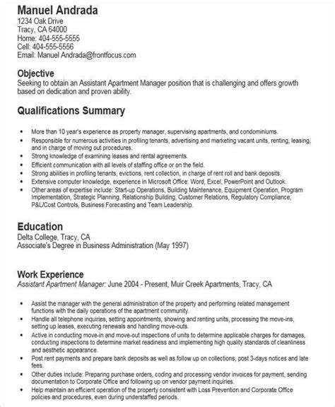 Sle Resume For Apartment Manager by Residential Property Management Resume Sle 28 Images 28 Property Management Description For