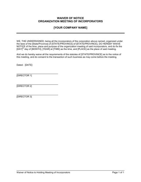 Waiver Template by Waiver Of Notice Meeting Of Incorporators Template