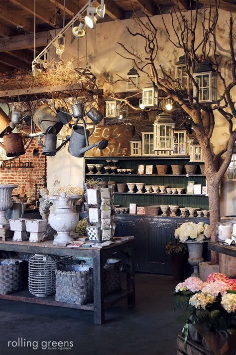 home garden decor store tree as store prop love the rustic elements a