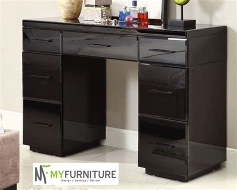 Black Dresser With Mirror Drawers by Mirrored Black Glass Dressing Table Console 7 Drawer