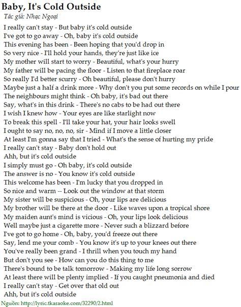 On The Patio Lyrics by Lời B 224 I H 225 T Baby It S Cold Outside Nhạc Ngoại C 243 Nhạc