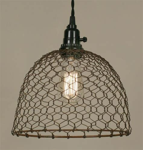 primitive rust chicken wire dome pendant l light