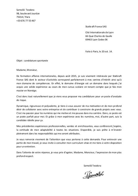 Lettre De Motivation Candidature Spontanée Type Photo Exemple De Lettre Motivation Candidature Spontanee