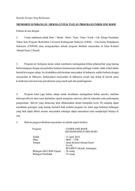 surat memohon sumbangan daripada ibu bapa