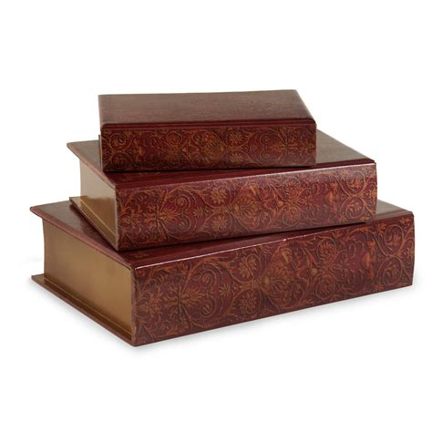 Decorative Wooden Boxes by Imax Worldwide 13108 3 Nesting Wooden Burgundy Scrollwork