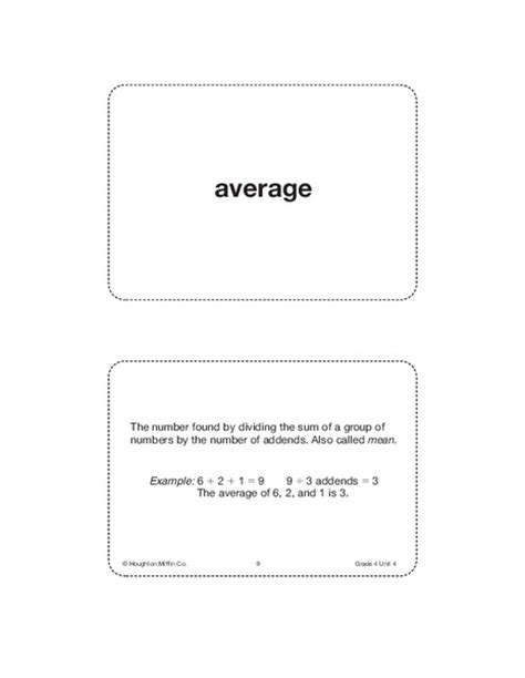 Vocab Card Template by 4th Grade Math Vocabulary Cards Collection Lesson Planet