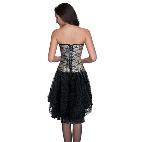 2pcs Overall Dress Black Apricot 18547 burlesque lace overbust corset with lace skirt set n12147