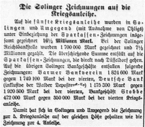 deutsche bank ohligs sparkasse solingen 1914 1918 ein rheinisches tagebuch