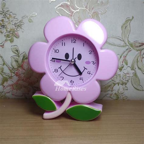 unique alarm clocks moonflower abs plastic small silent pinkblue